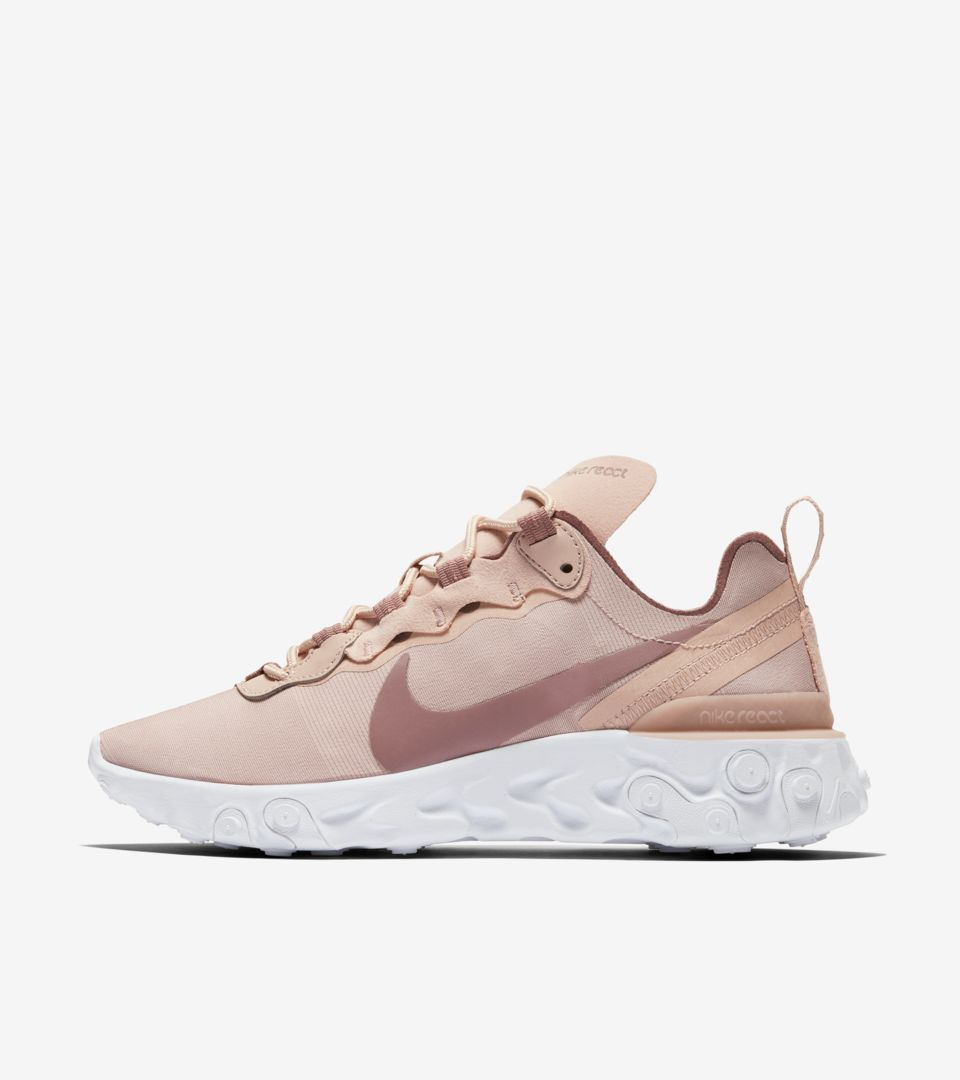Women's Nike React Element 55 'Particle Beige & White & Smokey Mauve' Release Date