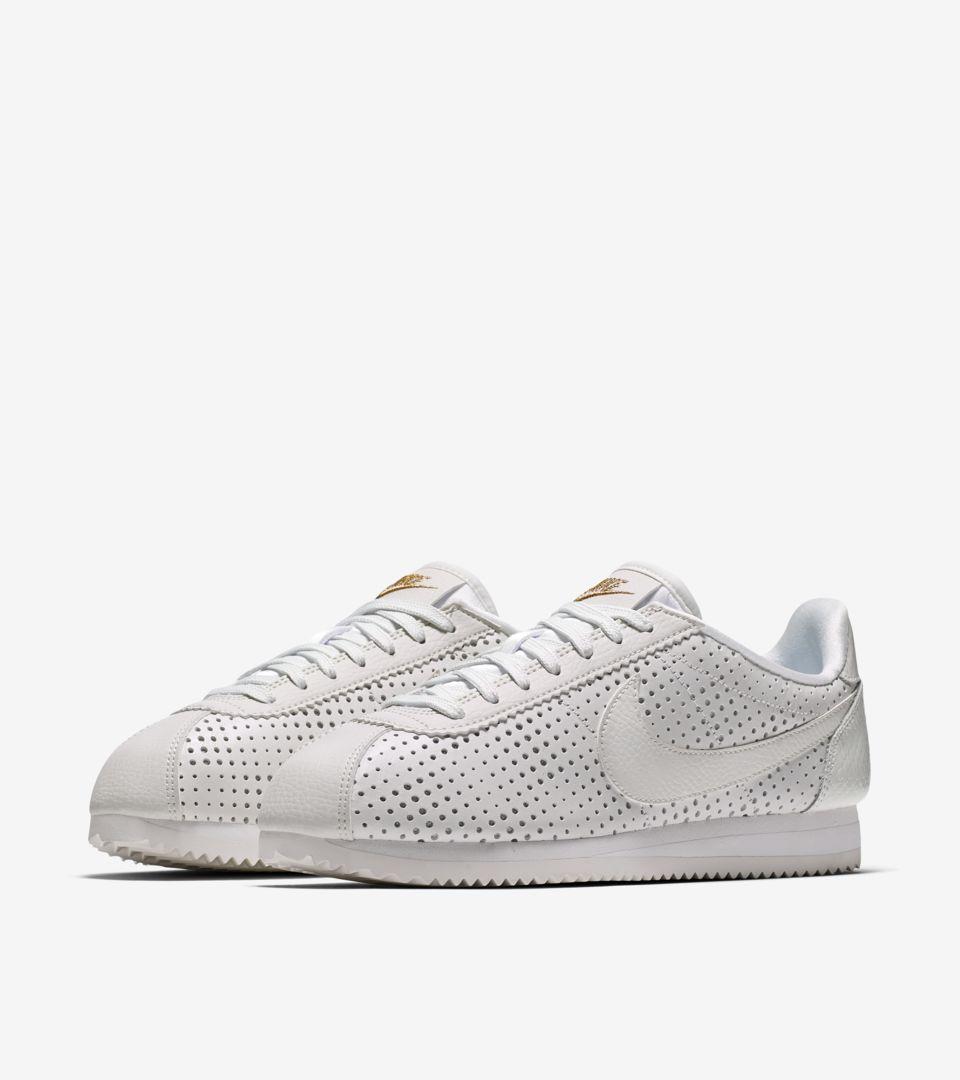 Women s Nike Cortez Classic Premium QS  Summit White   Metallic Gold ... bfa7e7e61