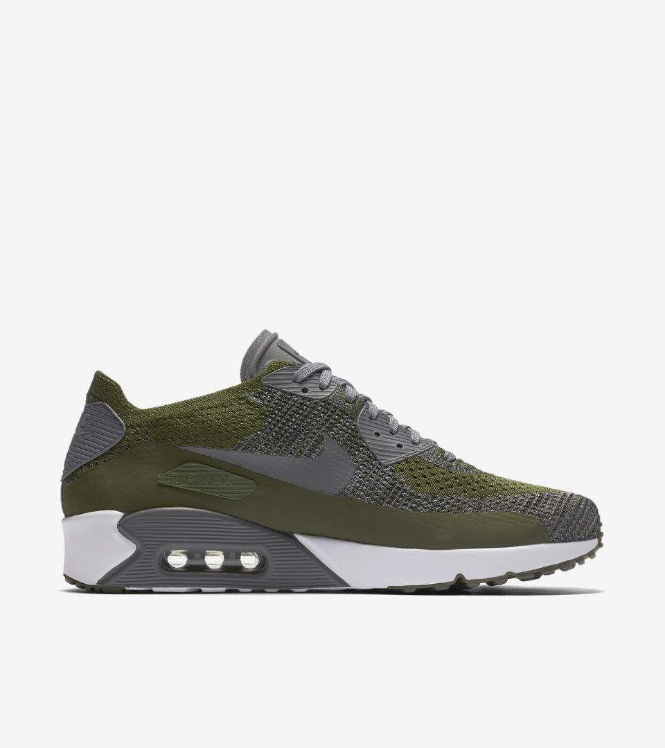 f1a040f1d3f5 Nike Air Max 90 Ultra 2.0 Flyknit  Rough Green   Dark Grey . Nike⁠+ ...