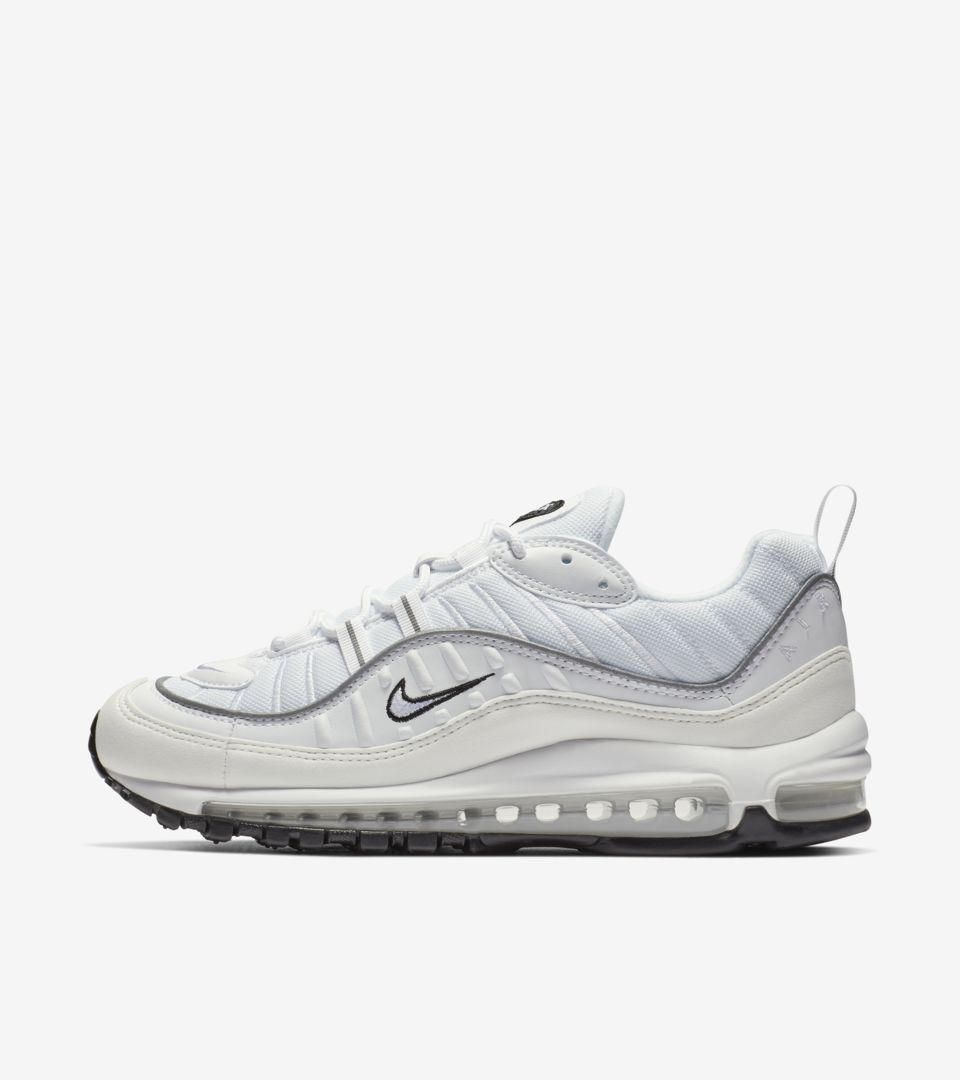 new design usa cheap sale detailing Nike Women's Air Max 98 'White & Reflective Silver' Release ...