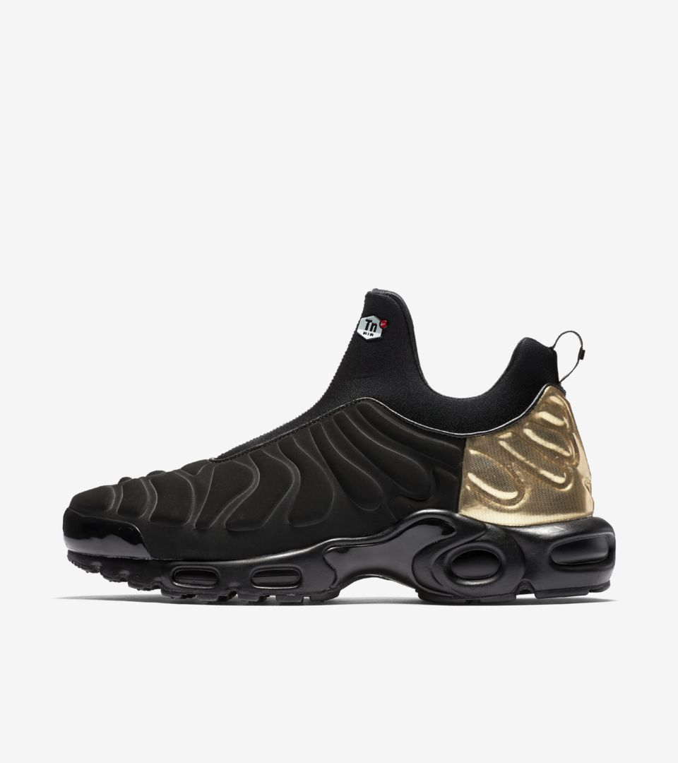 550a6aded2 Women's Air Max Plus Slip 'Black & Metallic Gold'. Nike⁠+ SNKRS