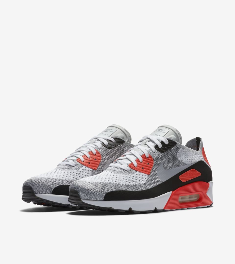 Nike Air Max 90 Ultra 2.0 Flyknit  White   Bright Crimson . Nike⁠+ SNKRS 03069914a