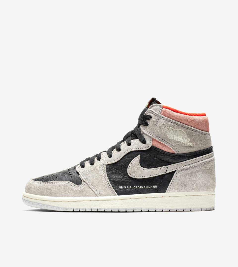 d99a259d8474 Air Jordan 1 High OG  Neutral Grey   Hyper Crimson   Black  Release ...