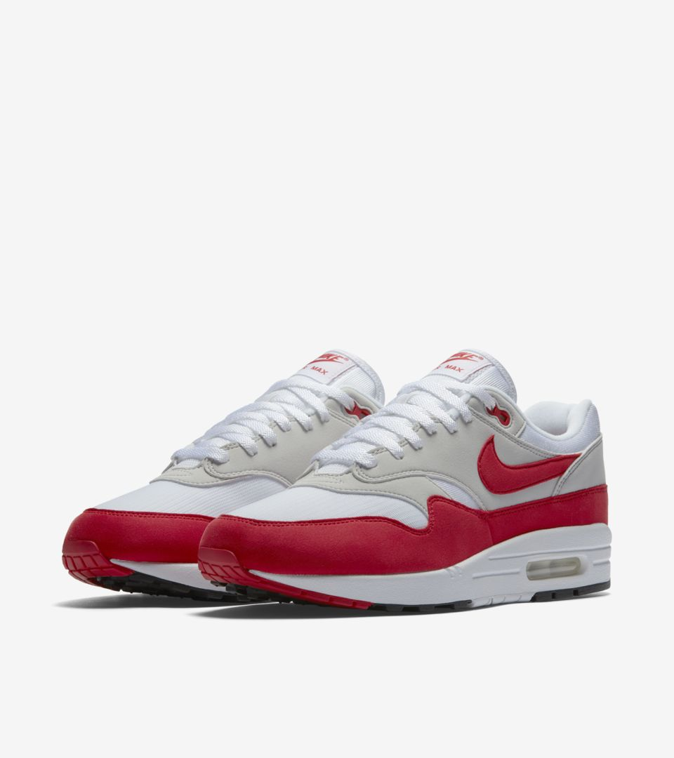 Nike Air Max 1 Anniversary  White   University Red . Nike⁠+ SNKRS 64171c64c5b4