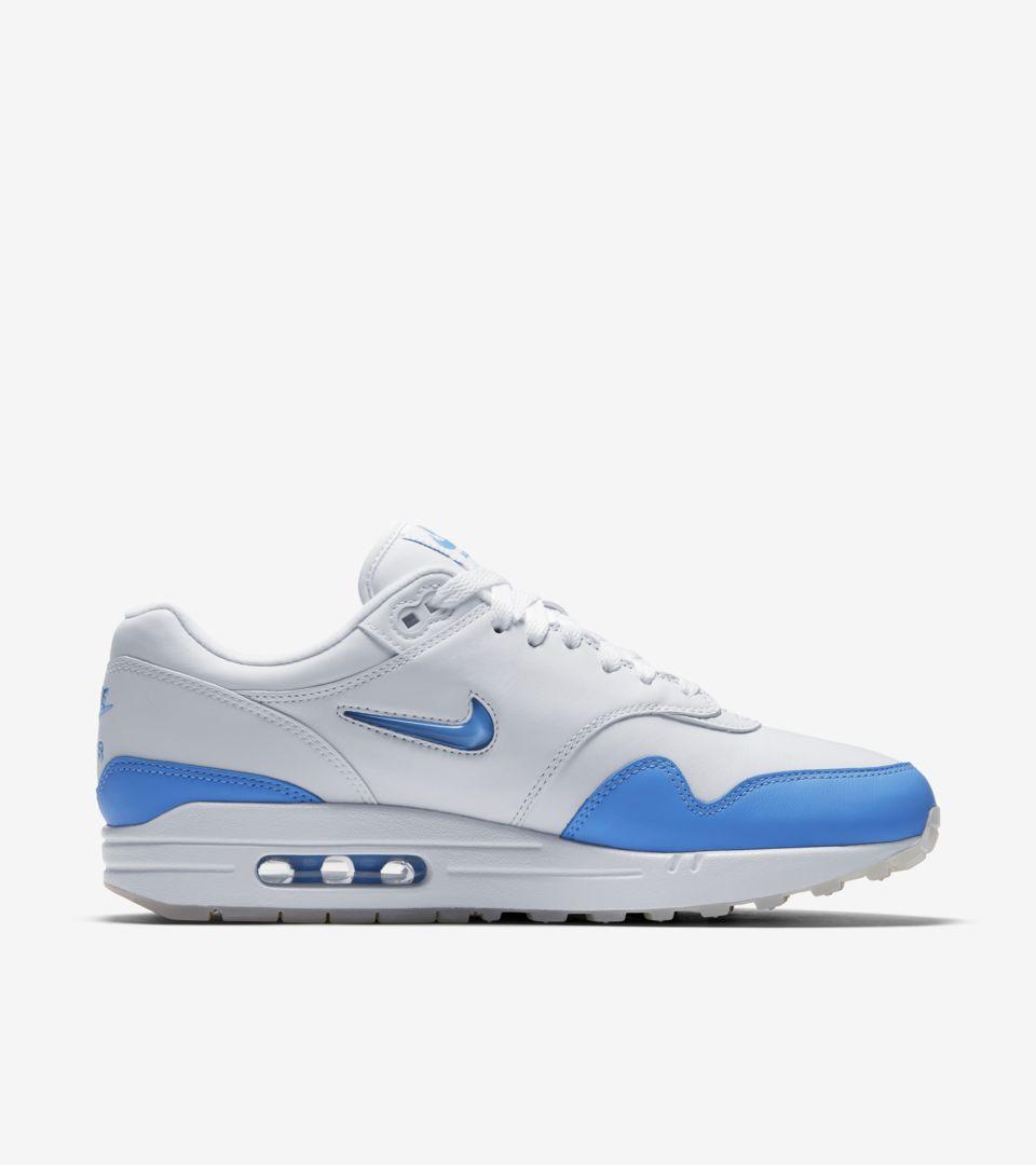 3db86557c3 Nike Air Max 1 Premium Jewel 'White & University Blue' Release Date ...