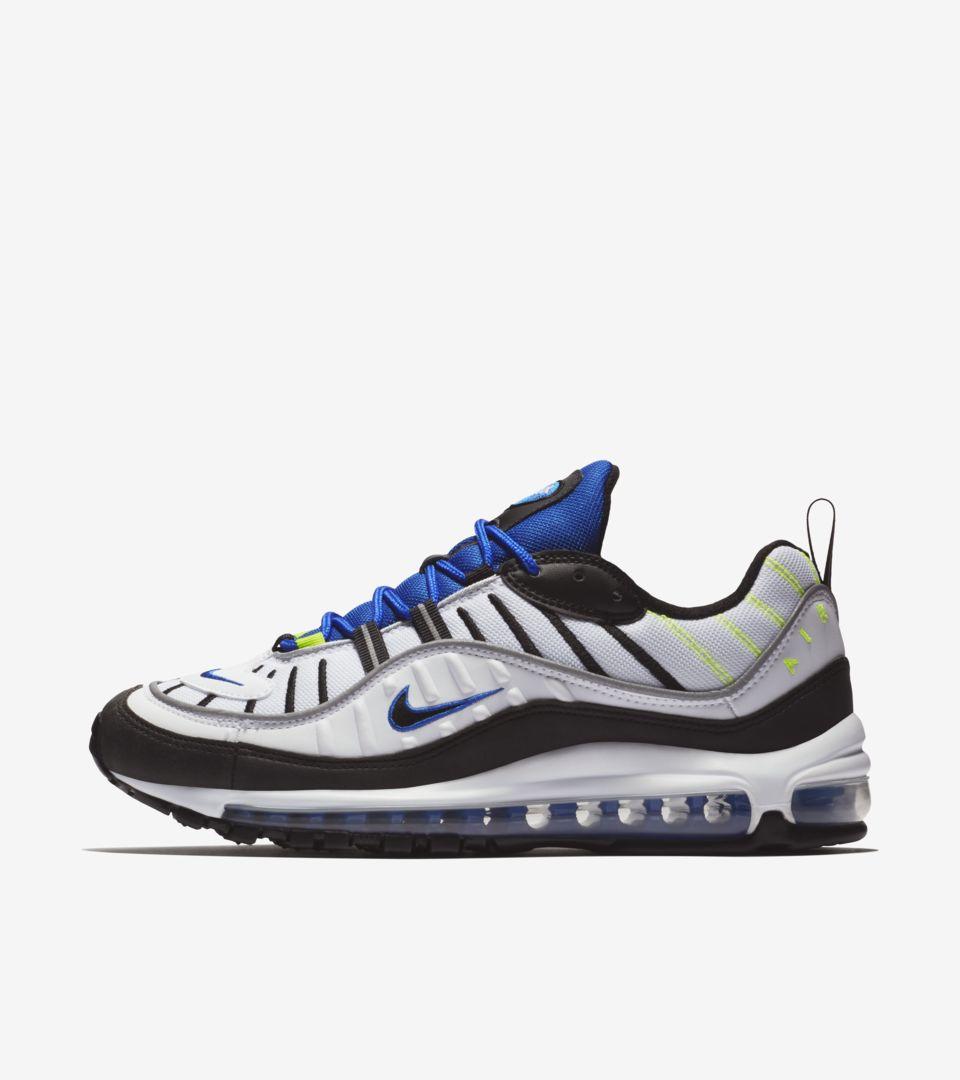 54da430853 Nike Air Max 98 'White & Black & Racer Blue' Release Date ...