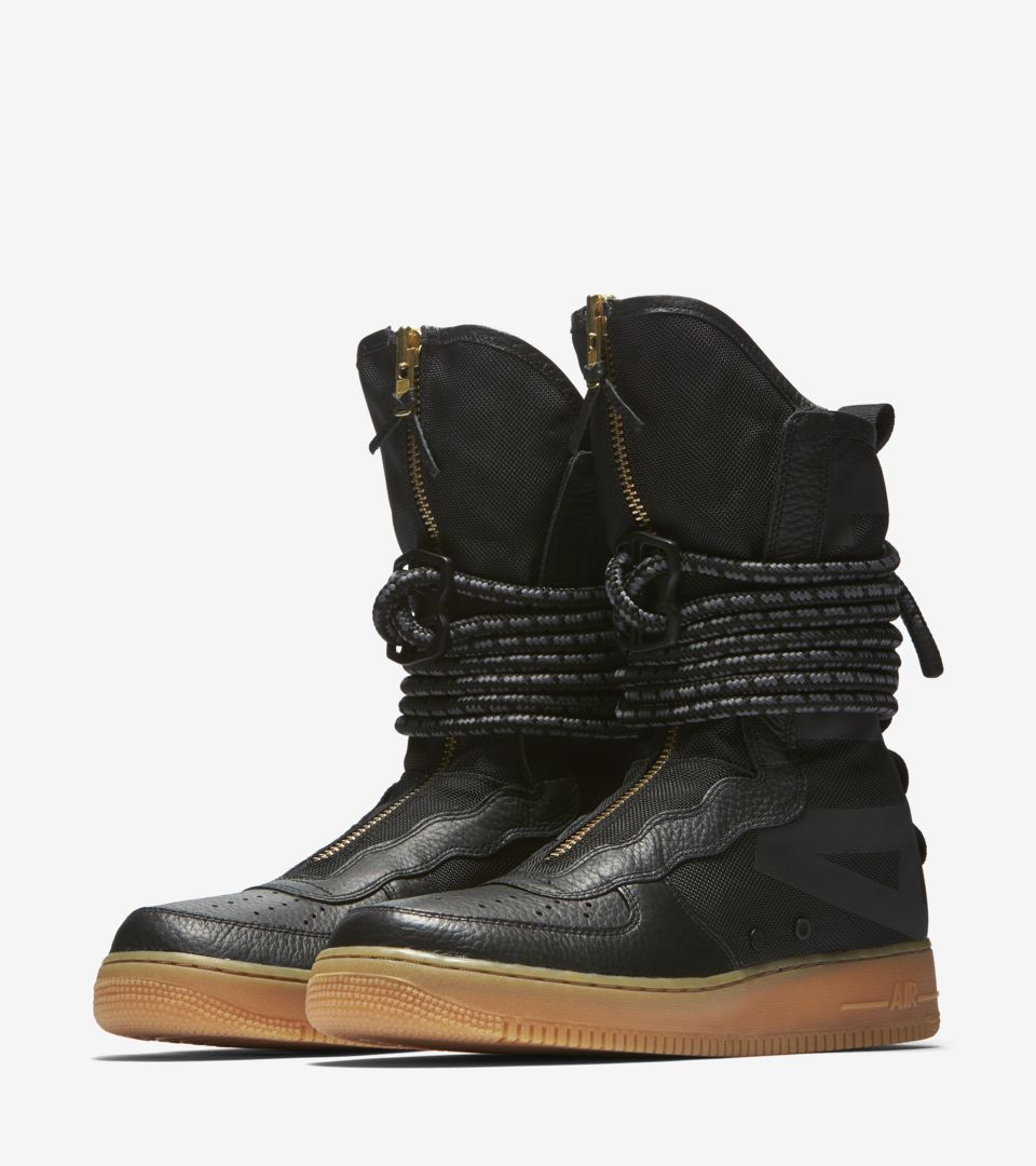 nike sf air force 1 hi boot black gum