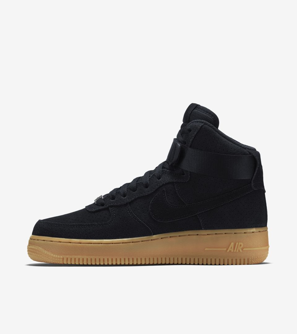 8e1fc24297f Women's Nike Air Force 1 Hi 'Black Suede   Gum'. Nike⁠+ SNKRS
