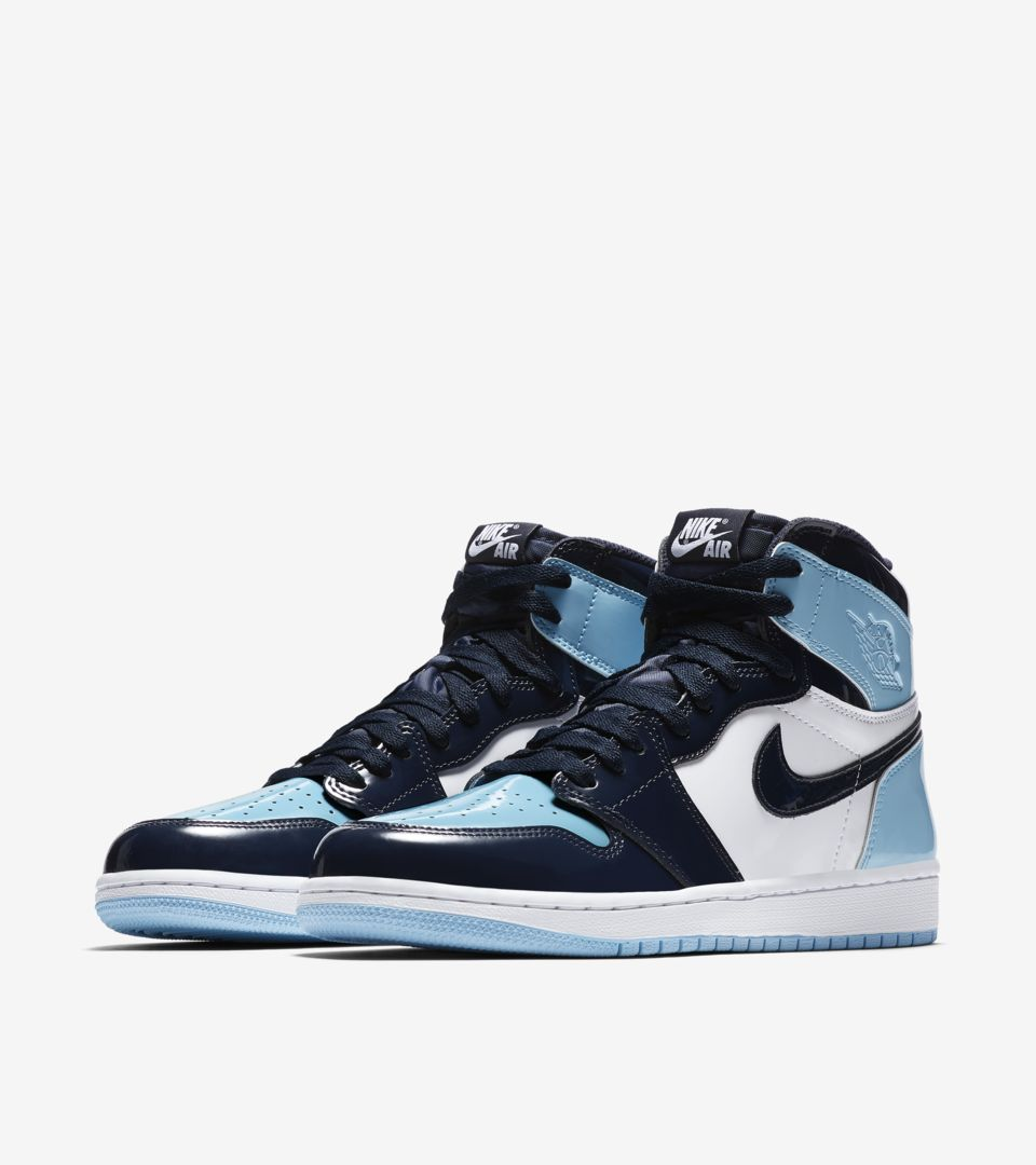 Women S Air Jordan 1 High Blue Chill Obsidian White Release