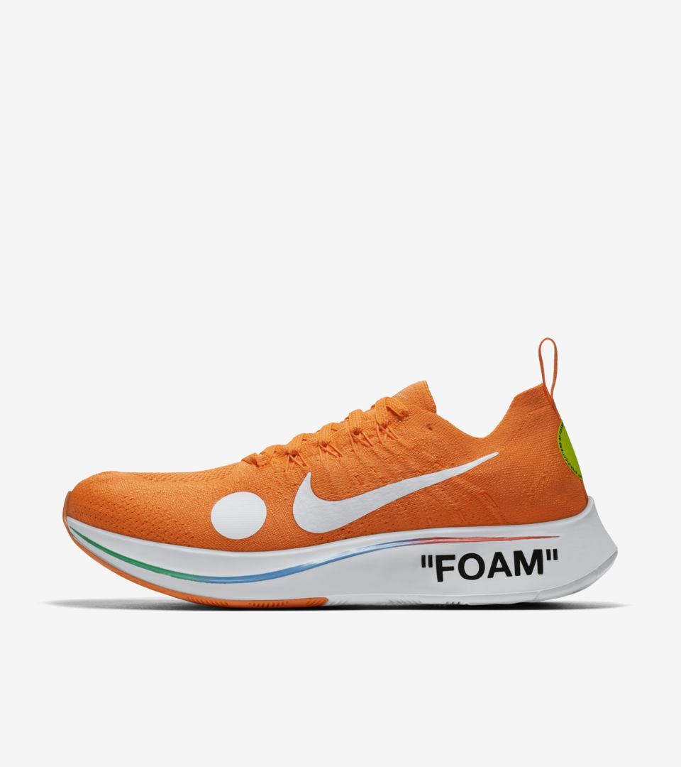 a038d5f22bee8 Nike Zoom Fly Mercurial Flyknit Off-White  Total Orange  amp  Volt ...