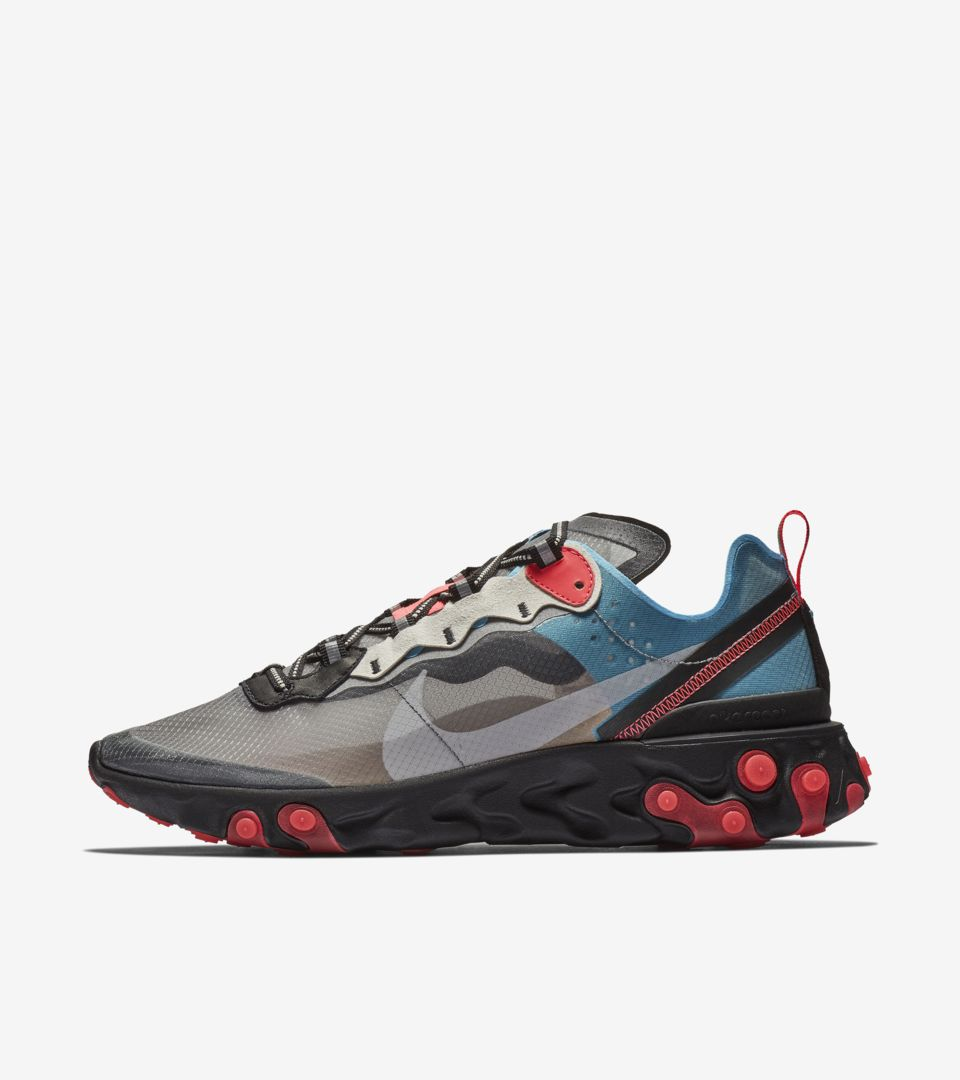 Nike React Element 87 'Solar Red & Black & Blue Chill' ...