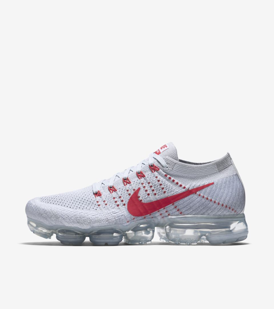 c797d0de2f1 Nike Air VaporMax  Pure Platinum   University Red . Nike⁠+ SNKRS