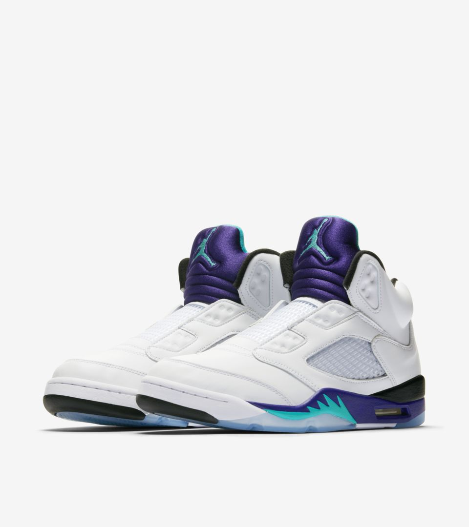 68051ffcce80e7 NIKE AIR JORDAN V FRESH PRINCE White New Emerald Grape - UK 9 EUR 44 ...