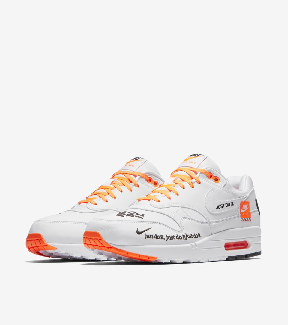 8b40b1c88b5b Nike Air Max 1 Just Do It Collection  White   Total Orange  Release ...