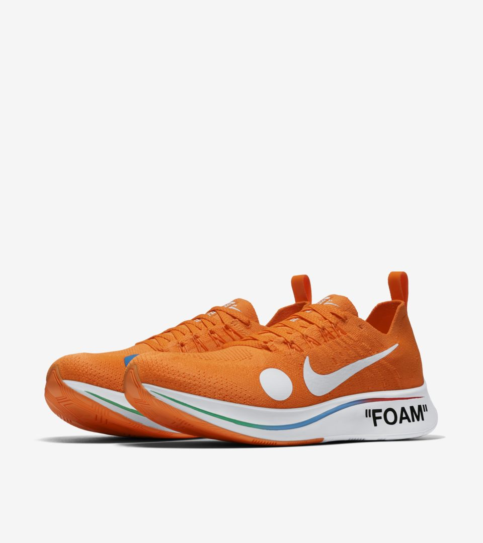 6d15e62799a9 Nike Zoom Fly Mercurial Flyknit Off-White  Total Orange   Volt ...