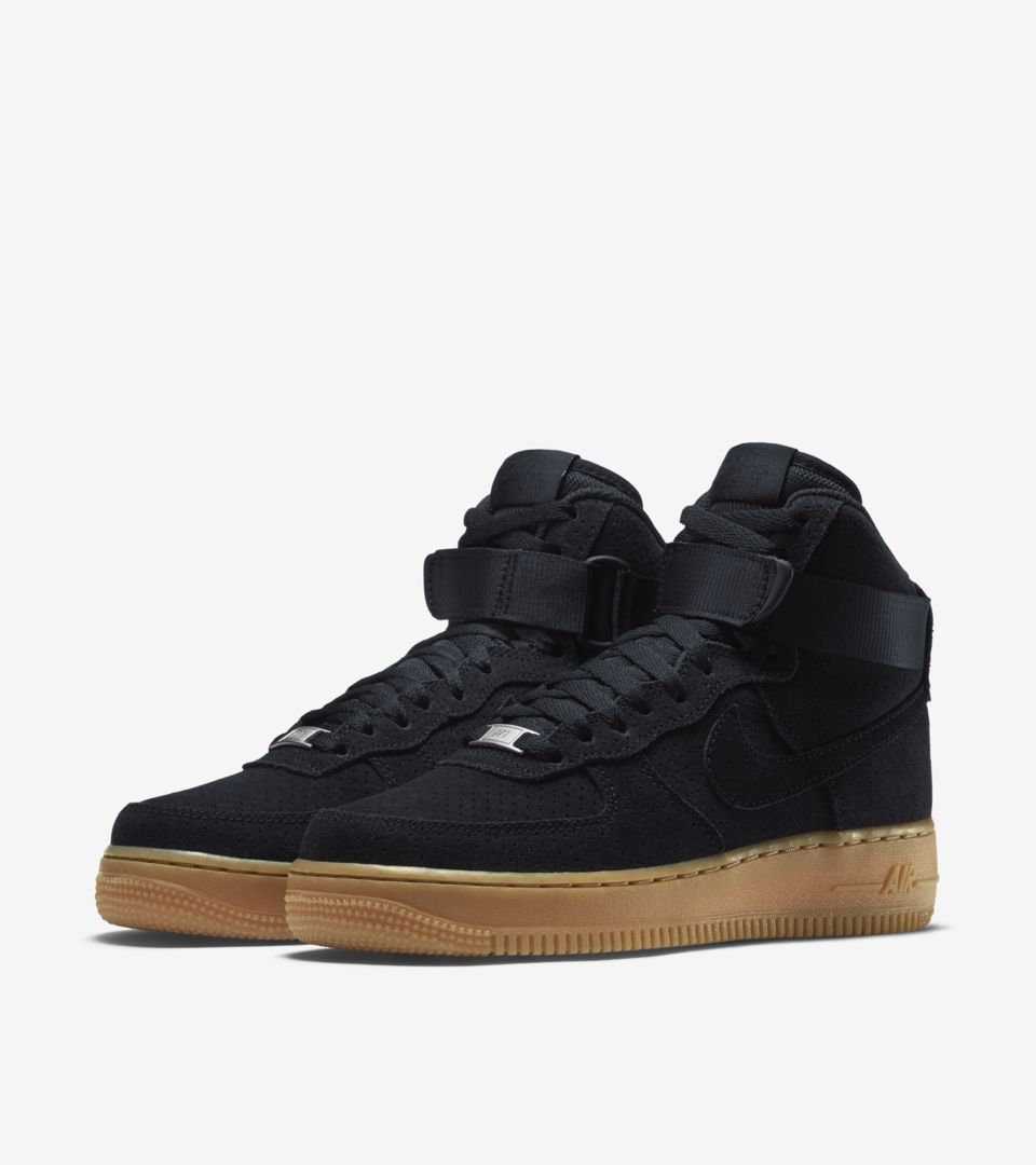 Women s Nike Air Force 1 Hi  Black Suede   Gum . Nike⁠+ SNKRS 72871f15ba