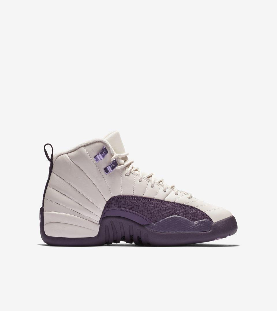 c4b20a68b10 Big Kids' Air Jordan 12 Retro 'Desert Sand & Pro Purple & Light ...