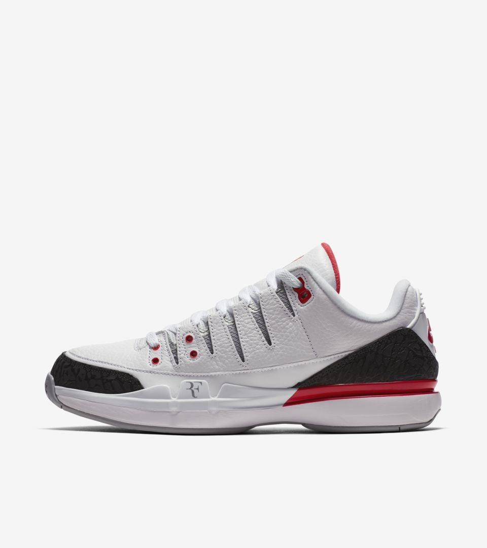 finest selection 556d7 b61be NikeCourt Zoom Vapor RF x AJ3 'Fire Red'. Nike⁠+ SNKRS