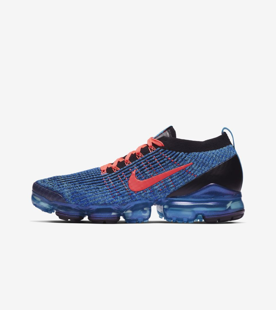 Nike Air VaporMax Flyknit 3 'Blue Fury & Flash Crimson' Release Date