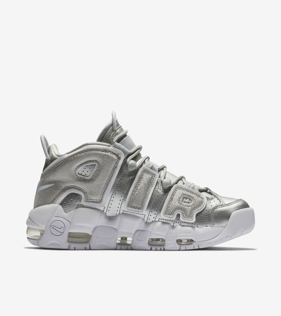 65c58b1c5a98 ... Release Date Women s Nike Air More Uptempo  Metallic Silver   White  ...