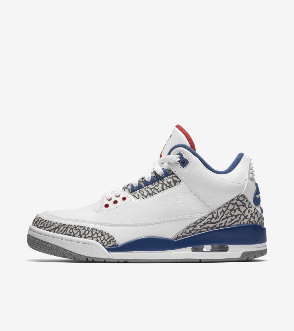 7626a7f37d4 Air Jordan 3 Retro OG  White   Cement Grey   Blue . Nike⁠+ SNKRS
