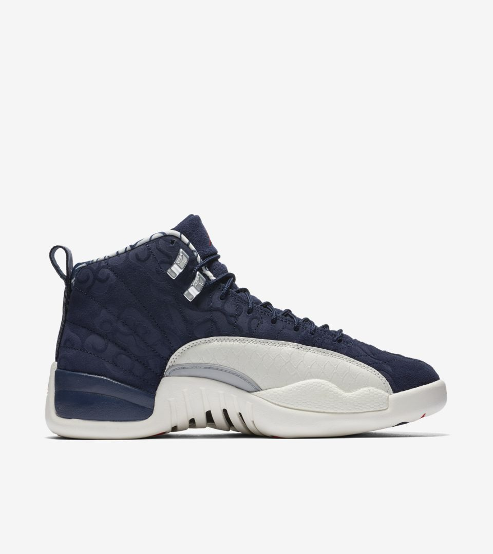 newest 6559a 2f50b ... Air Jordan 12 International Flight  College Navy  Release ...