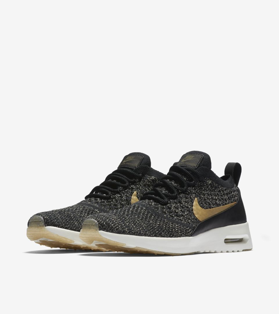 de32699697226 Women s Nike Air Max Thea Ultra Flyknit Metallic  Black   Metallic ...