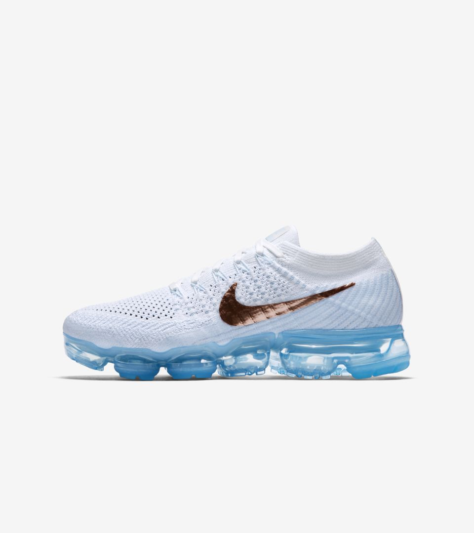 795942422e Women's Nike Air VaporMax Flyknit 'Summit White & Hydrogen Blue ...