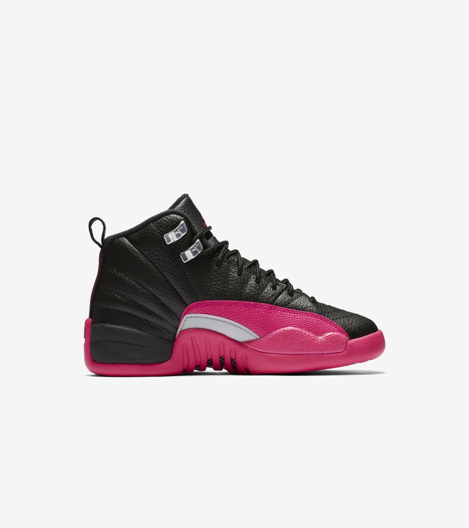 size 40 16e93 e24b2 Girls' Air Jordan 12 Retro 'Black & Deadly Pink' Release ...