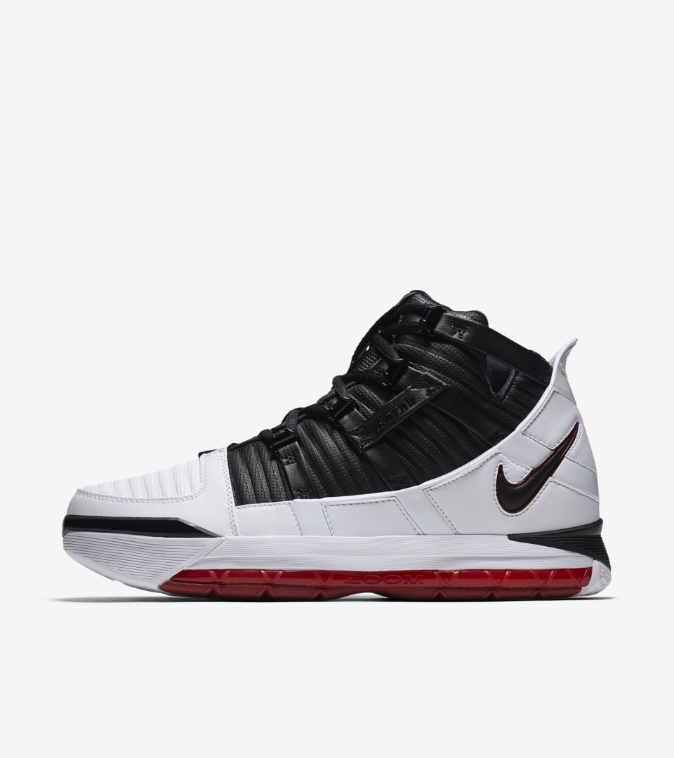 cheap for discount 5ae49 579aa Nike Zoom Lebron 3 Home  White   Varsity Crimson   Black  Release Date ...