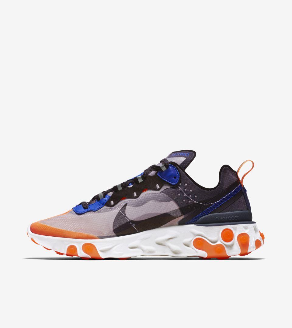 buy popular db860 dfc2d Nike React Element 87  Total Orange   Black   Thunder Blue  ...