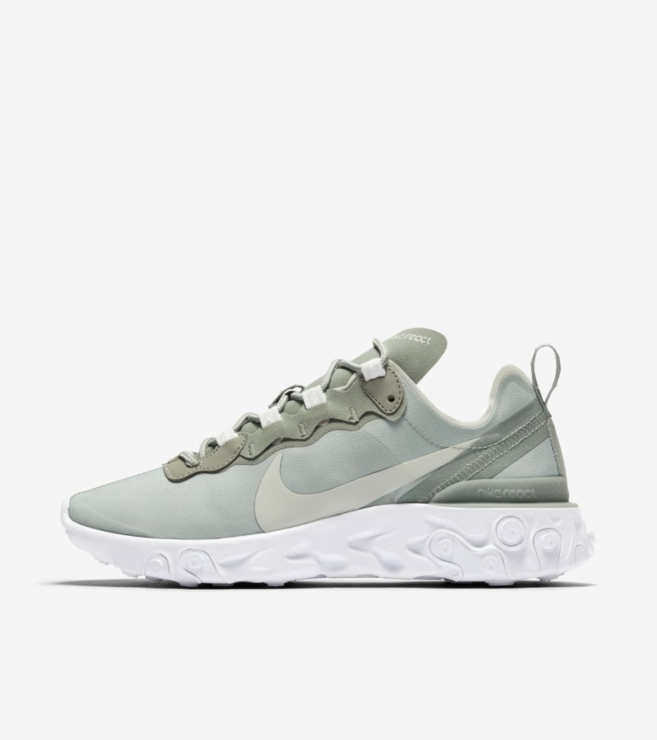 Women's Nike React Element 55 'Mica Green & White & Light Silver' Release Date