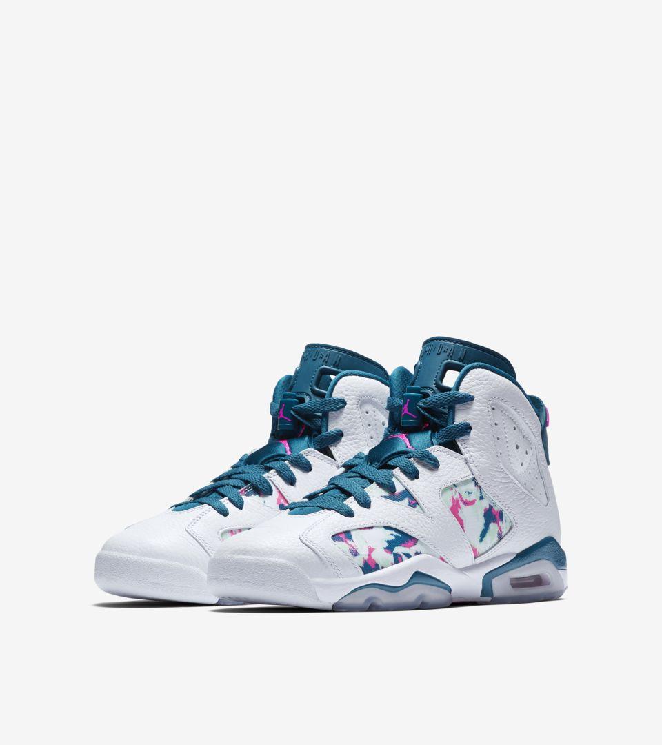 the latest 202cb 21491 Big Kids' Air Jordan 6 'White & Green Abyss & Laser Fuchsia ...