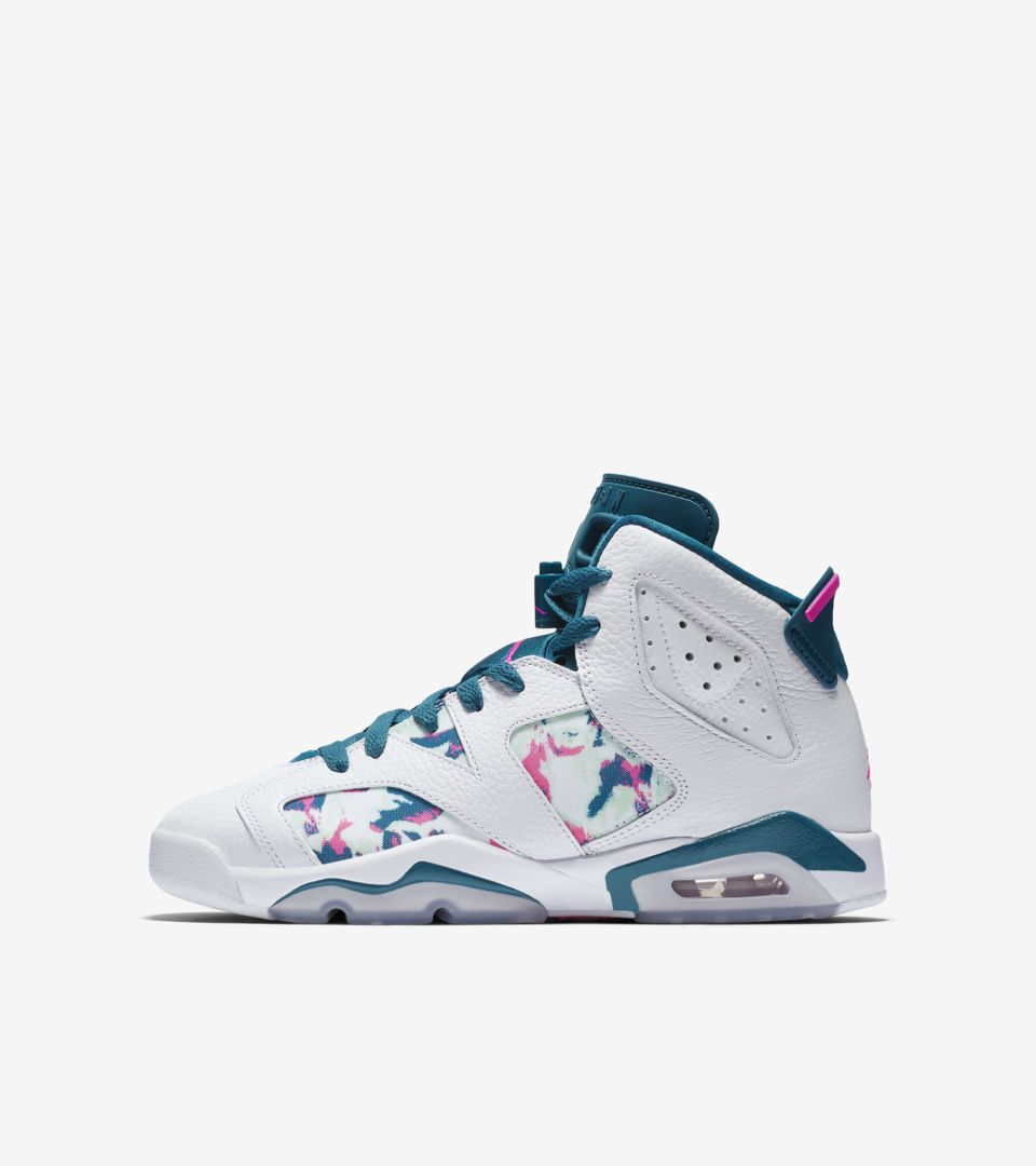 the latest dec05 d1c3a Big Kids' Air Jordan 6 'White & Green Abyss & Laser Fuchsia ...
