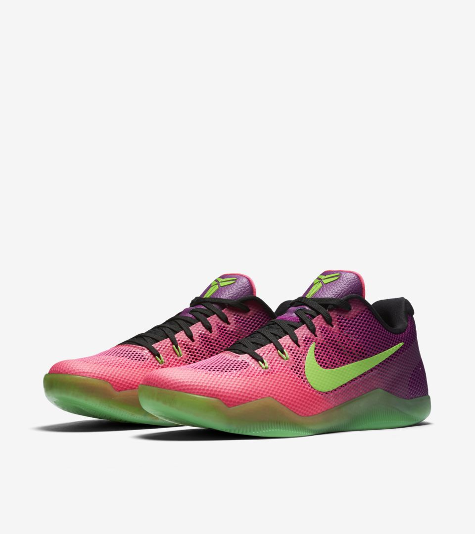 new concept dc31f 955c7 ... france nike kobe 11 mambacurial pink flash action green release date  a48b4 9b32b