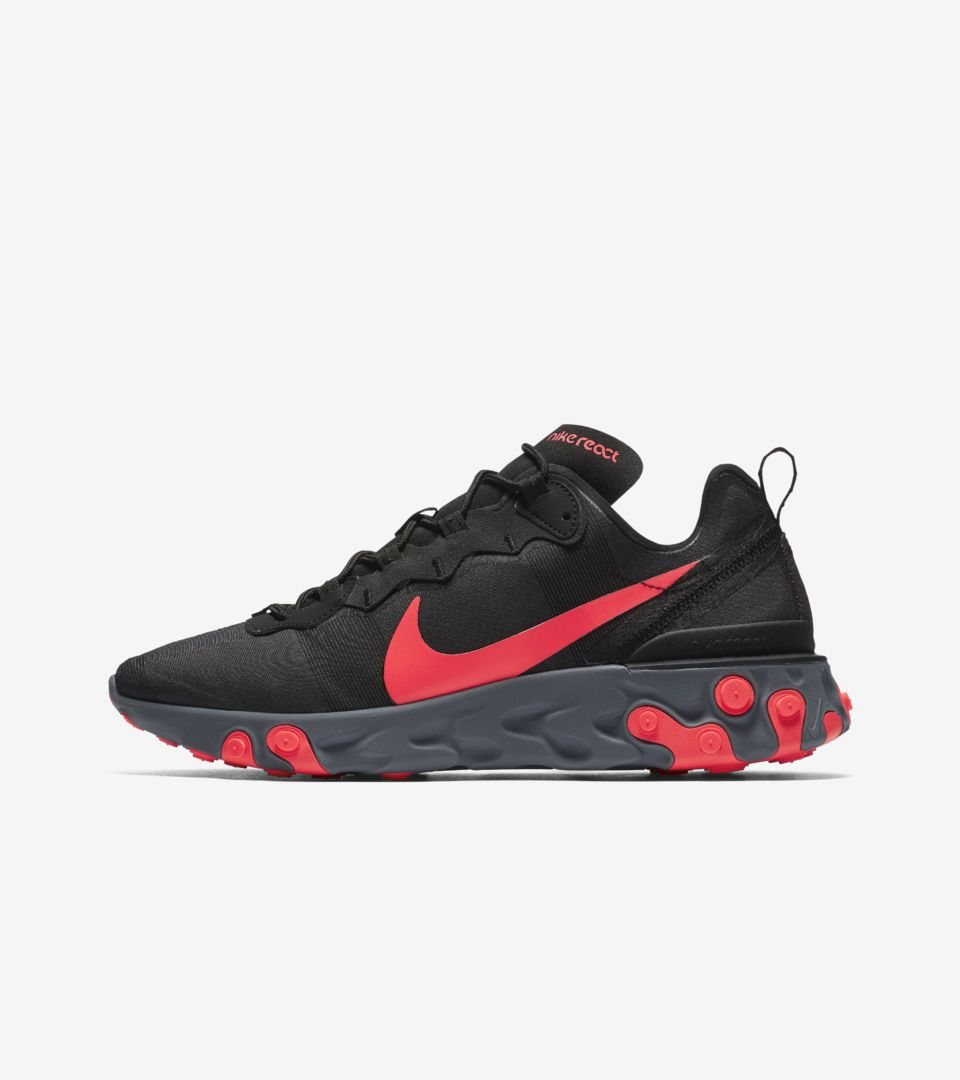 5ed75d4f7689 Nike React Element 55  Black   Solar Red  Release Date. Nike+ SNKRS