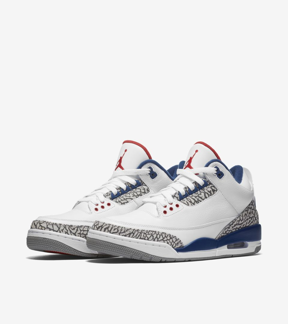 Air Jordan 3 Retro OG 'White & Cement Grey & Blue'. Nike⁠+ SNKRS