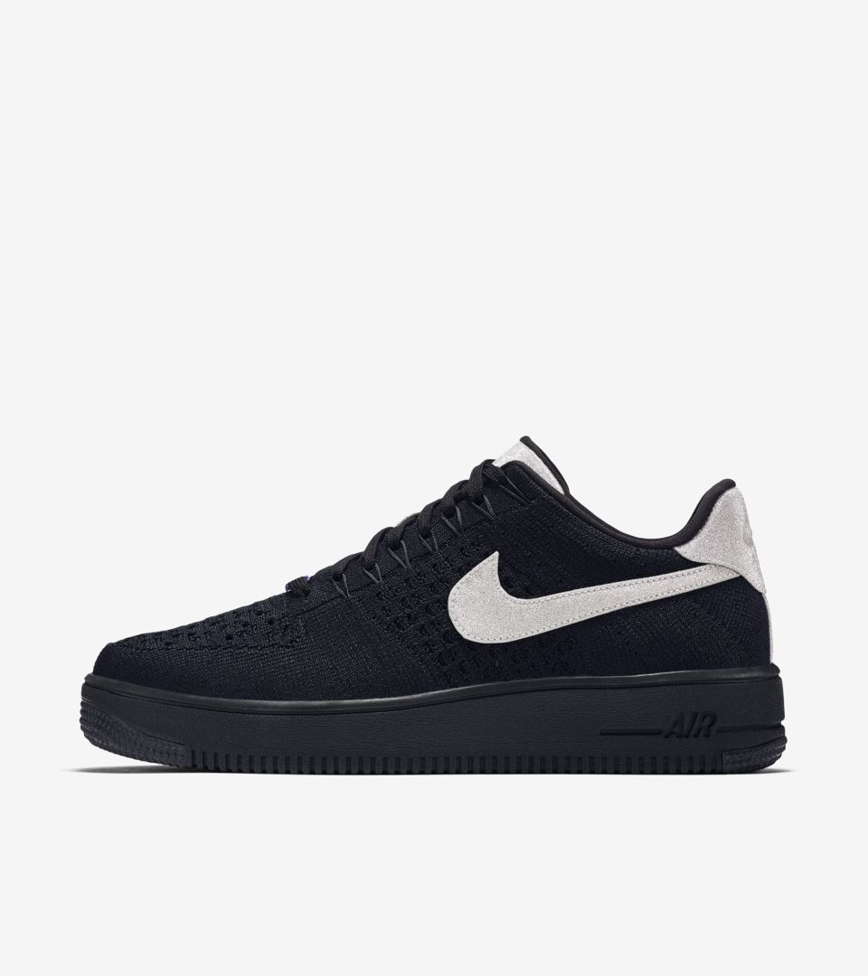 28ea343babfef Nike Air Force 1 Ultra Flyknit Low  Black   Metallic Silver . Nike⁠+ ...