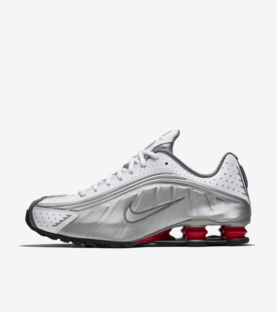 reputable site 1568f 89a4d Nike Shox R4 White  Comet Red  Metallic Silver ...