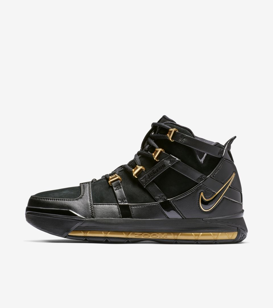 8208bb6ee9a2 Zoom Lebron III  Metallic Gold  Release Date. Nike+ SNKRS