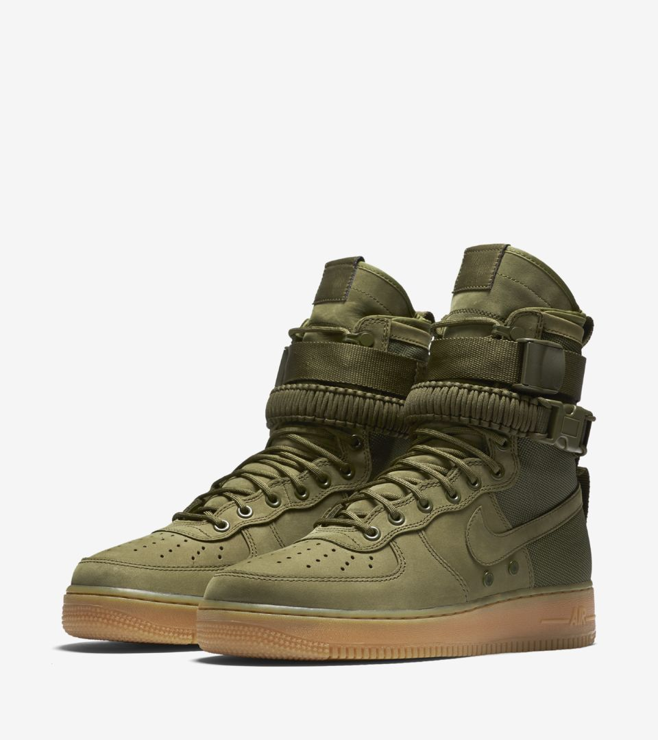 68f4c21957ef22 Nike Special Field Air Force 1  Faded Olive   Gum Light Brown . Release  Date. Nike⁠+ SNKRS