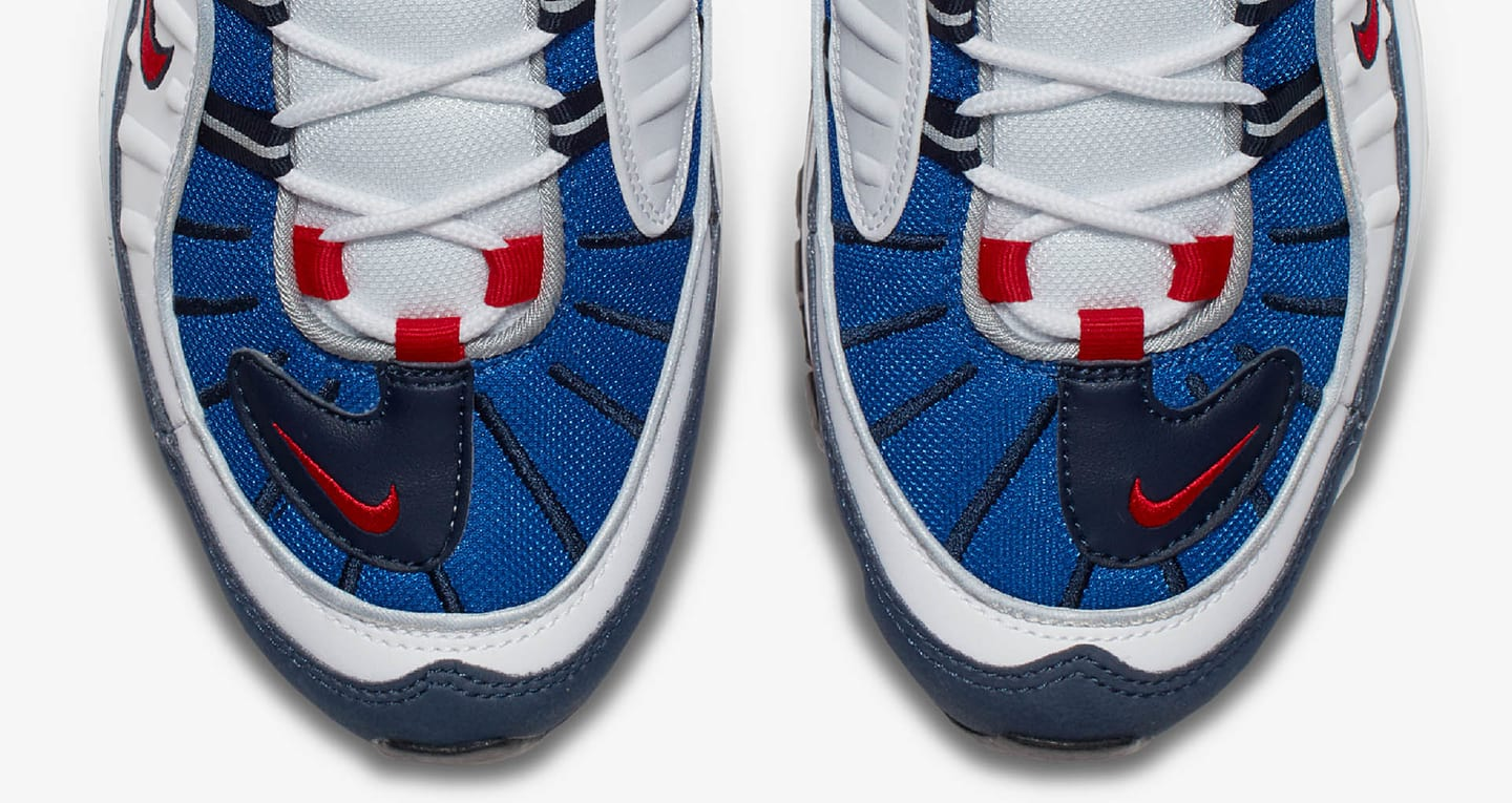 nike red white and blue air max 98 trainers