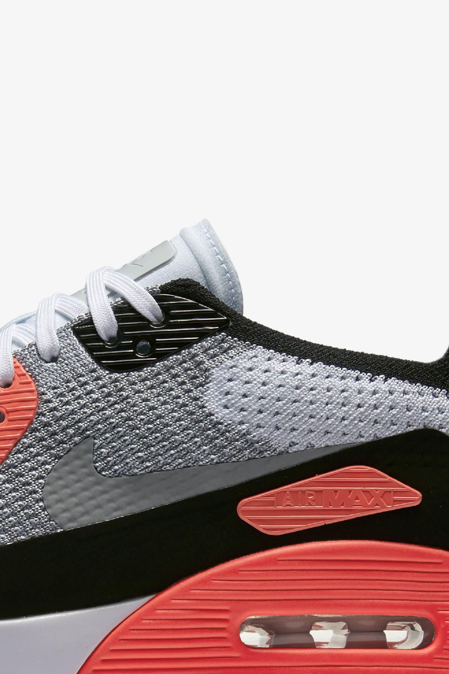 Women's Nike Air Max 90 Ultra 2.0 Flyknit 'White & Bright Crimson'