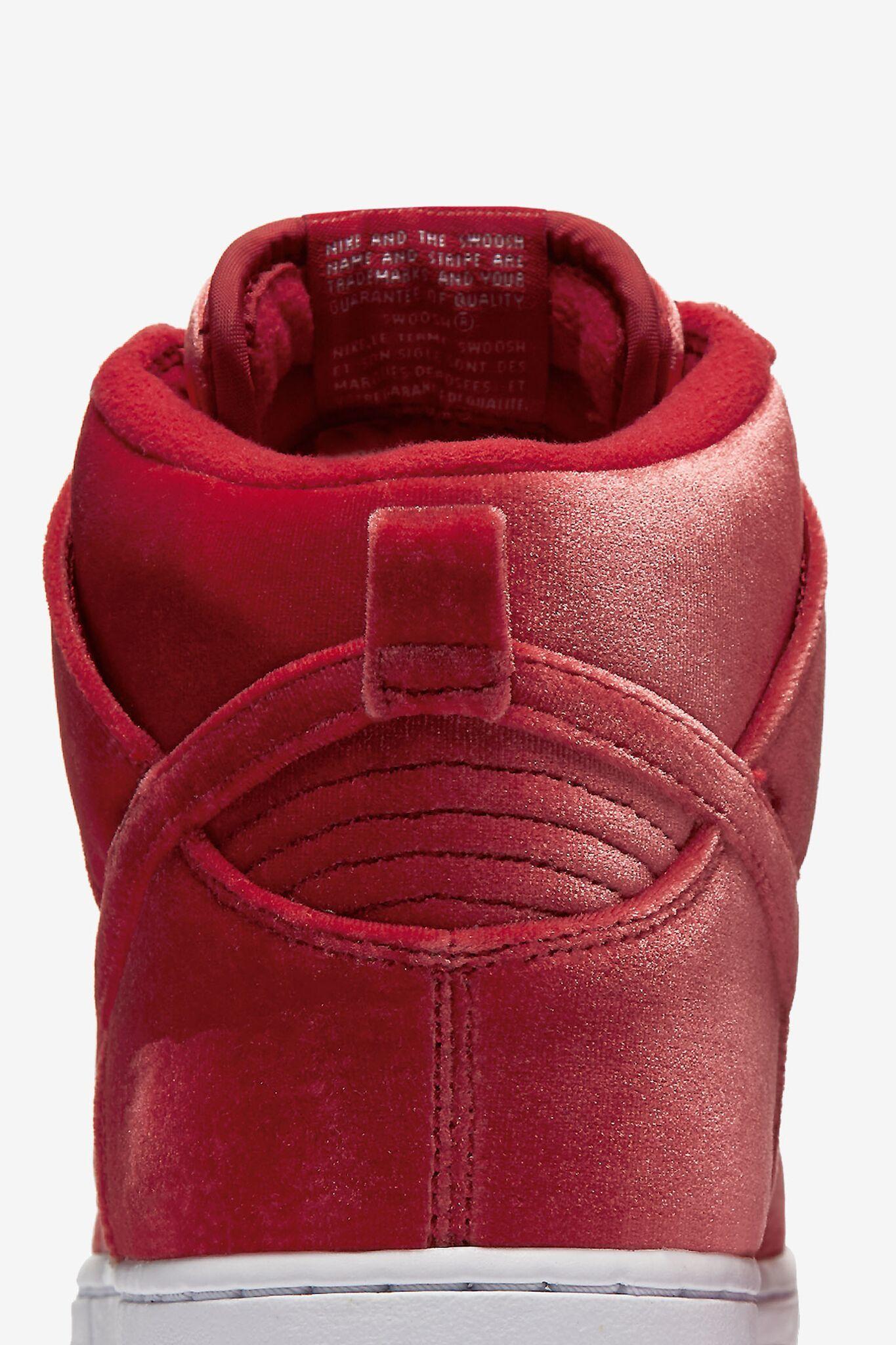 Nike SB Dunk High Premium 'Red Velvet'. Release Date