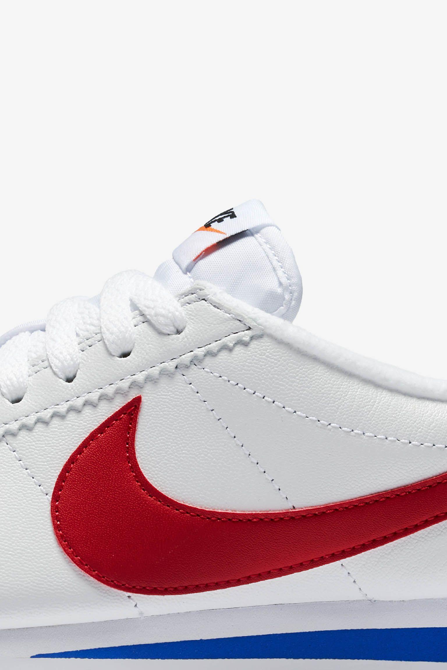 Women's Nike Classic Cortez Premium 'White & Varsity Royal & Varsity Red' Release Date