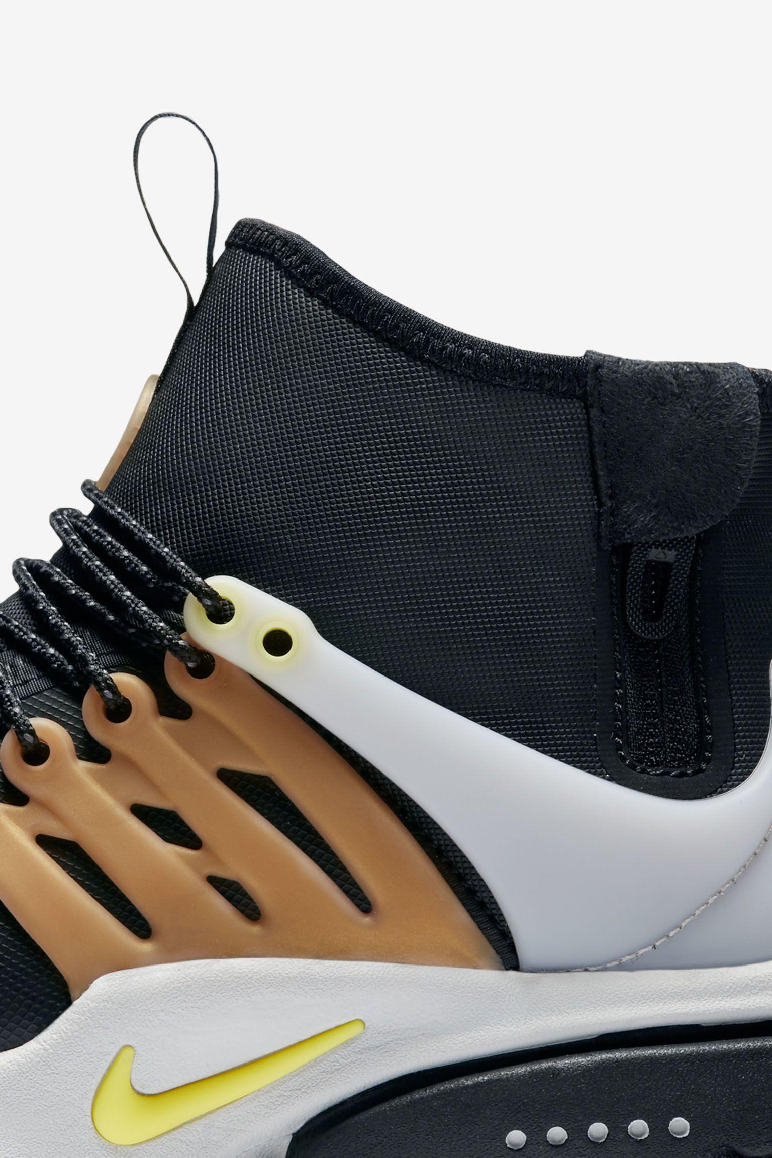 Nike Air Presto Mid Utility Sneakerboot 'Black & Metallic Gold'. Release Date