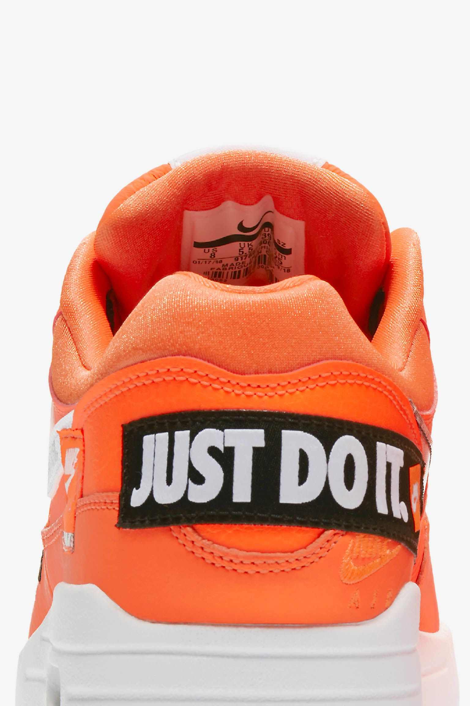 Nike Air Max 1 Just Do It Collection Total Orange White Release