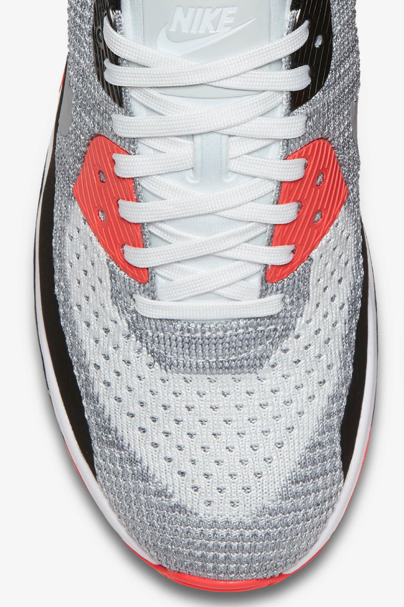 "Buty damskie Nike Air Max 90 Ultra 2.0 Flyknit ""White & Bright Crimson"""