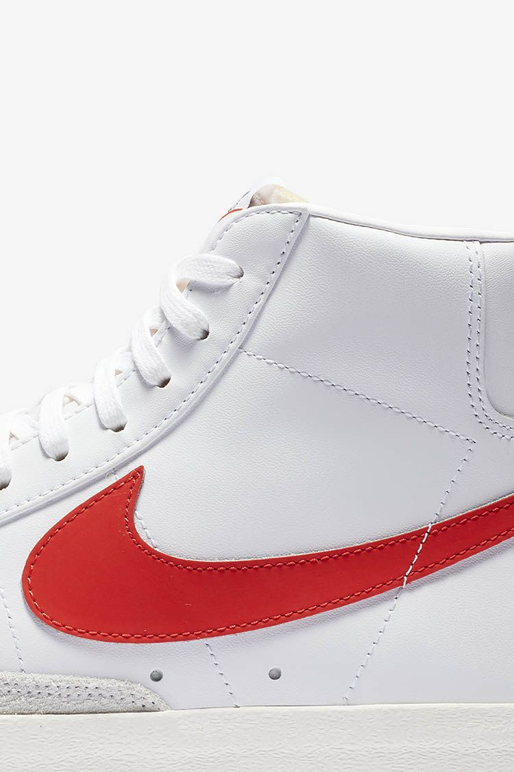 new style d4f80 fcfe9 The iconic silhouette arrives in a white leather upper and red Nike Swoosh,  while the vintage finish on the midsole provides an old-school look.