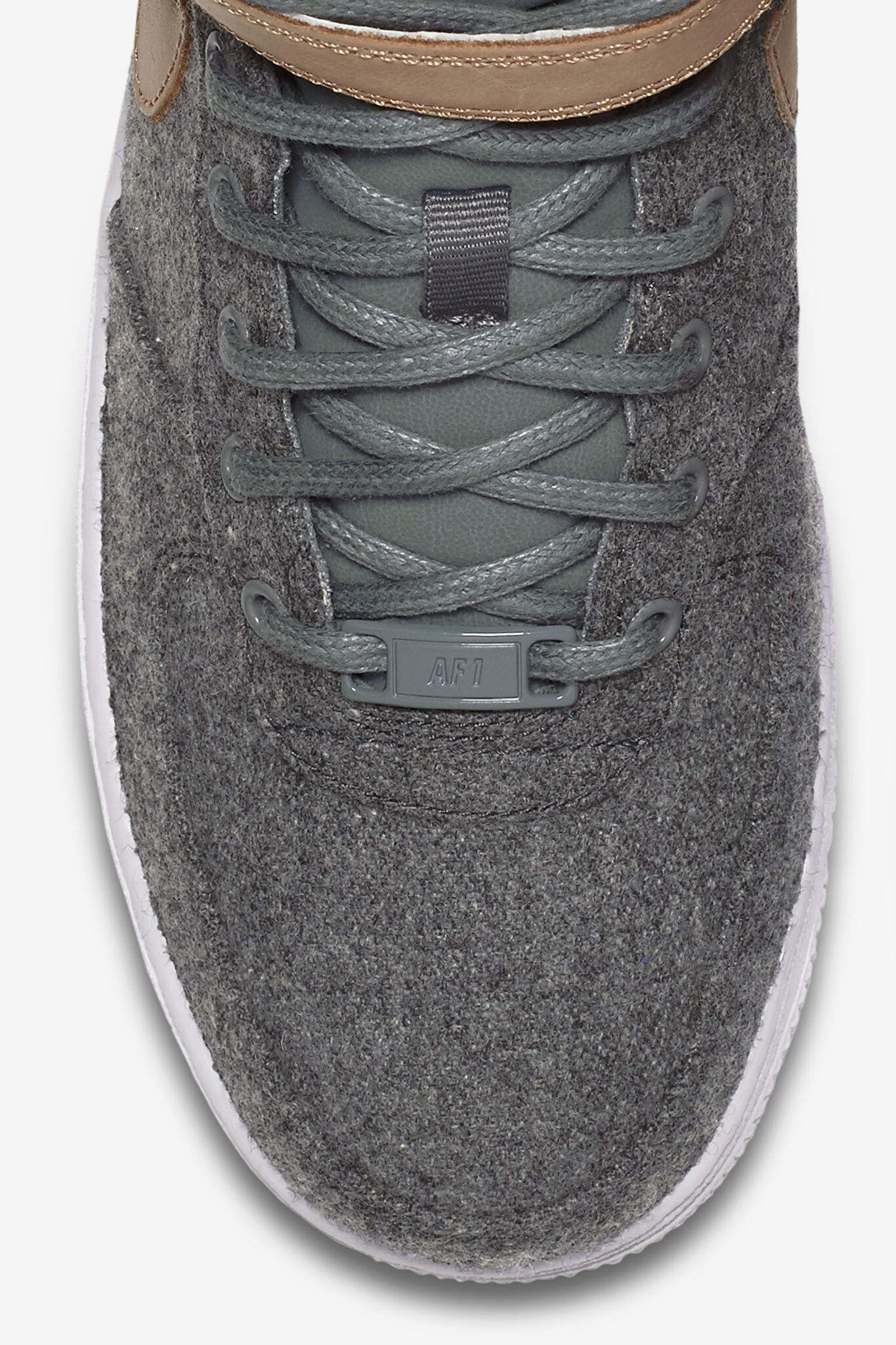 Womens Nike Air Force 1 Mid Leather 'Cool Grey & Vachetta Tan'.